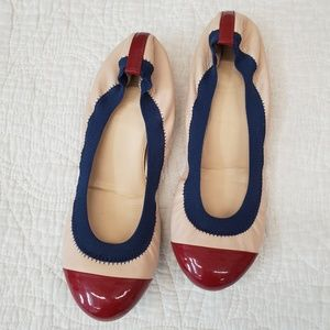 J. CREW Mila cap toe leather flat red, blue, cream